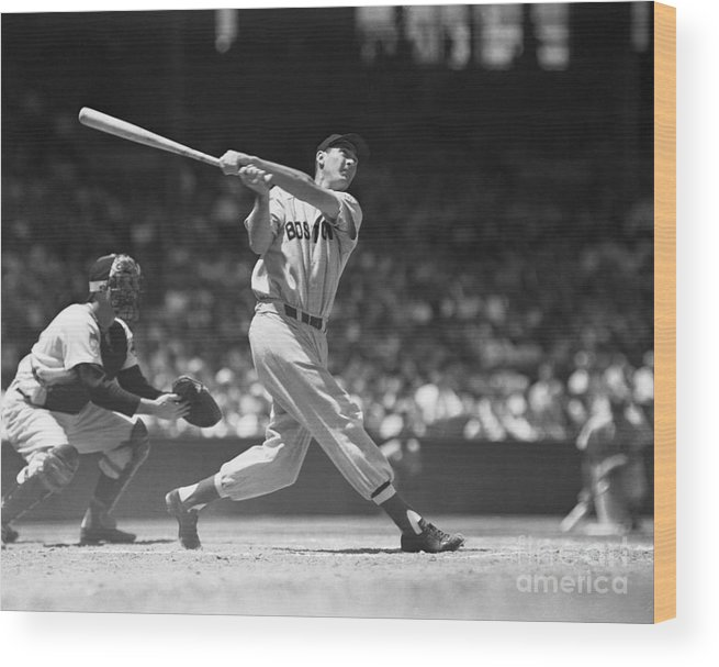 People Wood Print featuring the photograph Ted Williams Making A Hit by Bettmann