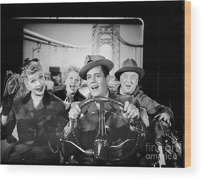 Fedora Wood Print featuring the photograph The Cast Of I Love Lucy by Cbs Photo Archive