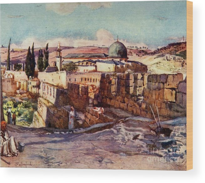 People Wood Print featuring the drawing The Mosque Of El Aksa by Print Collector