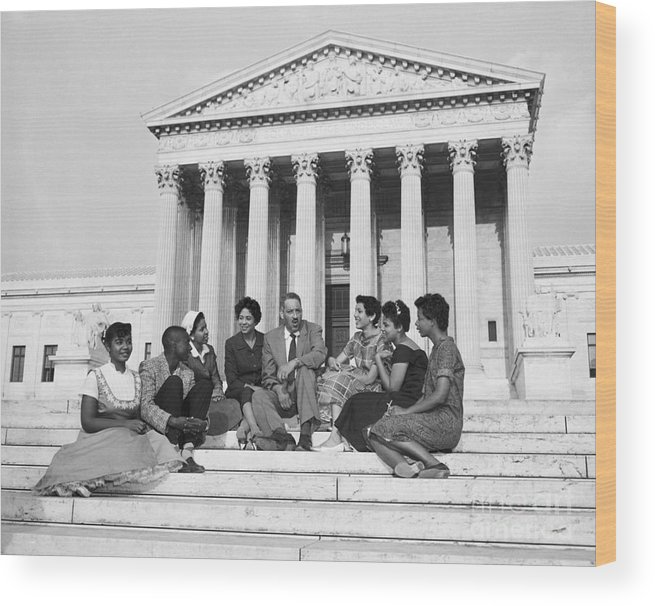 Elizabeth Eckford Wood Print featuring the photograph Thurgood Marshall And Little Rock by Bettmann