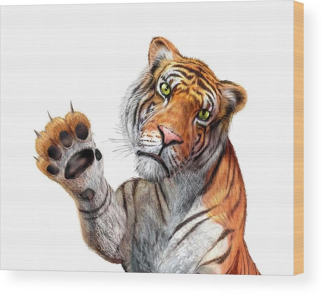 White Background Wood Print featuring the digital art Tiger, Artwork by Leonello Calvetti