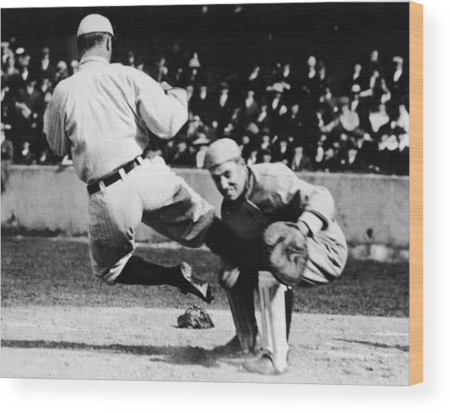 Baseball Catcher Wood Print featuring the photograph Ty Cobb Sliding Into Catcher by Pictorial Parade