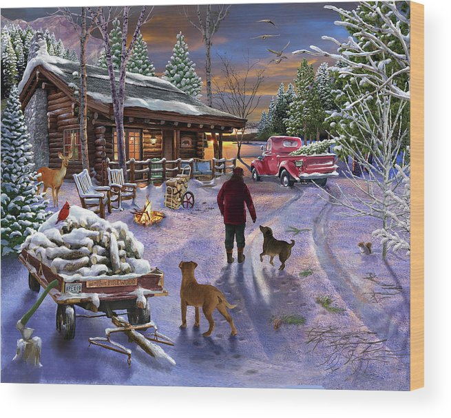 Winter Refuge Wood Print featuring the painting Winter Refuge by Bigelow Illustrations