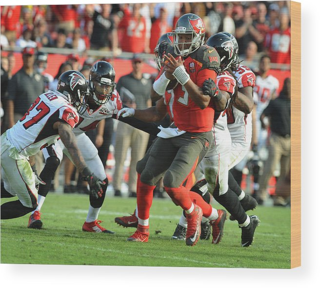 People Wood Print featuring the photograph Atlanta Falcons v Tampa Bay Buccaneers by Cliff McBride
