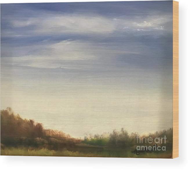 Blue Sky Landscape Wood Print featuring the painting Blue Sky by Sheila Mashaw