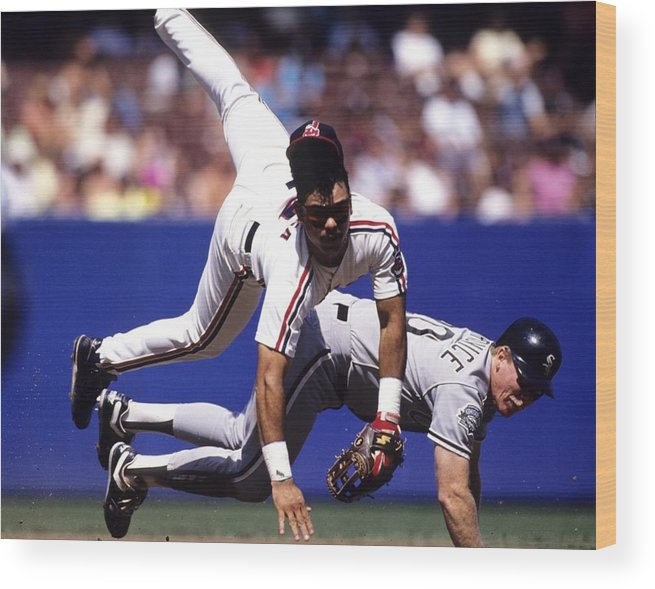 Cleveland Indians Wood Print featuring the photograph Carlos Baerga by Ronald C. Modra/sports Imagery