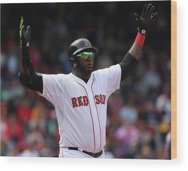 People Wood Print featuring the photograph David Ortiz by Jim Rogash