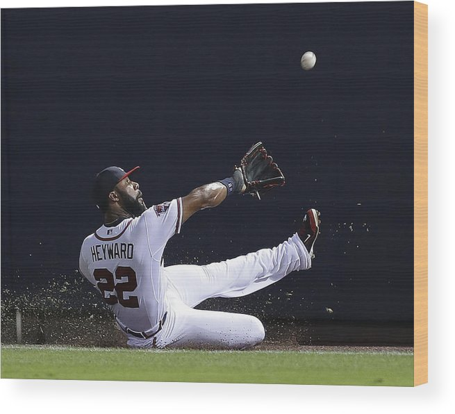 Atlanta Wood Print featuring the photograph Jason Heyward by Mike Zarrilli