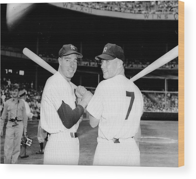 American League Baseball Wood Print featuring the photograph Joe Dimaggio and Mickey Mantle by New York Daily News Archive
