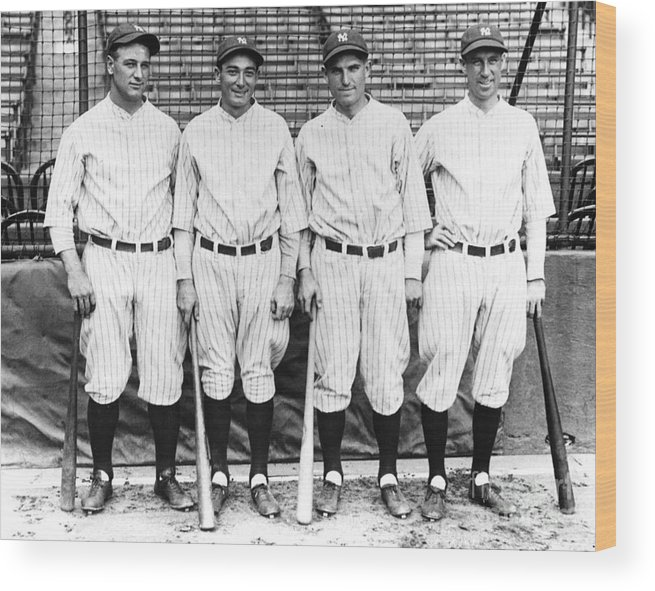 American League Baseball Wood Print featuring the photograph Lou Gehrig by Transcendental Graphics