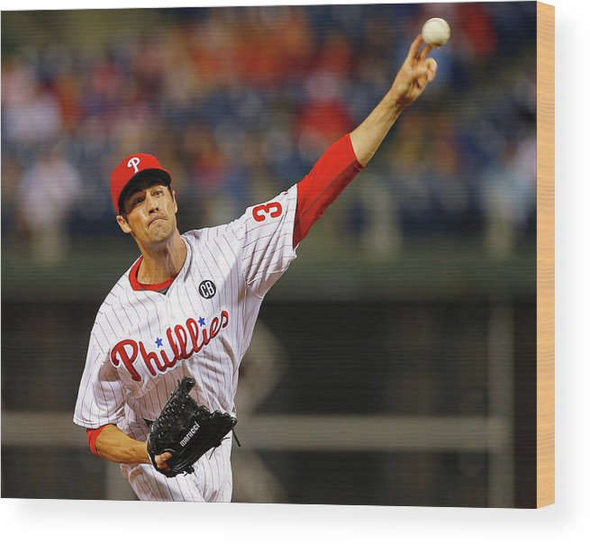 People Wood Print featuring the photograph Cole Hamels by Rich Schultz