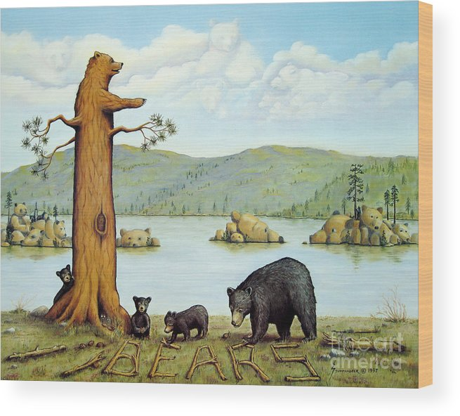 Bears Wood Print featuring the painting 27 Bears by Jerome Stumphauzer