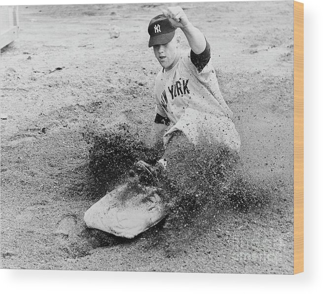 Dust Wood Print featuring the photograph Mickey Mantle by National Baseball Hall Of Fame Library