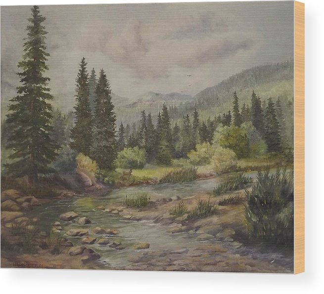 Landscape Wood Print featuring the painting A Rockey Mountain Stream by Wanda Dansereau