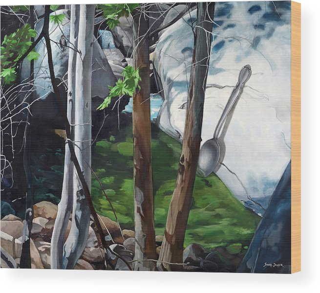 Landscape Wood Print featuring the painting A Taste of Nature by Snake Jagger