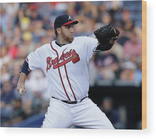 Atlanta Wood Print featuring the photograph Aaron Harang by Mike Zarrilli