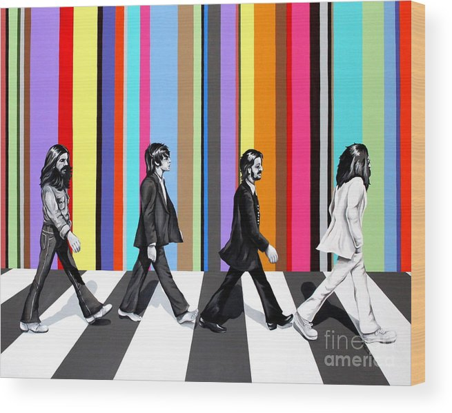 The Beatles Wood Print featuring the painting Abbey Road Technicolor by Amy Belonio