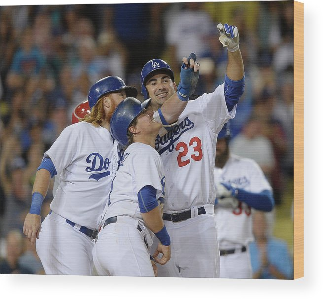 Three Quarter Length Wood Print featuring the photograph Adrian Gonzalez, John Lamb, and Justin Turner by Kevork Djansezian