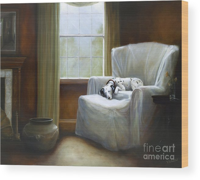 Violano Wood Print featuring the painting Afternoon Nap by Stella Violano