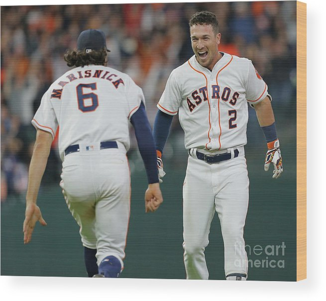 Alex Bregman Wood Print featuring the photograph Alex Bregman and Jake Marisnick by Bob Levey