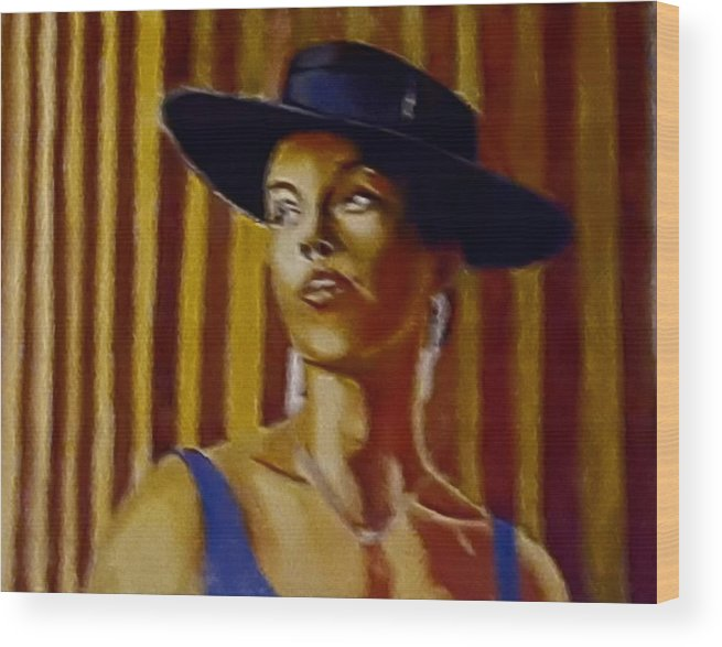 Portrait Wood Print featuring the painting Alica by Andrew Johnson