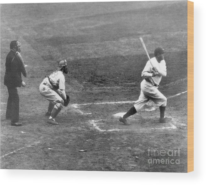 American League Baseball Wood Print featuring the photograph Babe Ruth by National Baseball Hall Of Fame Library