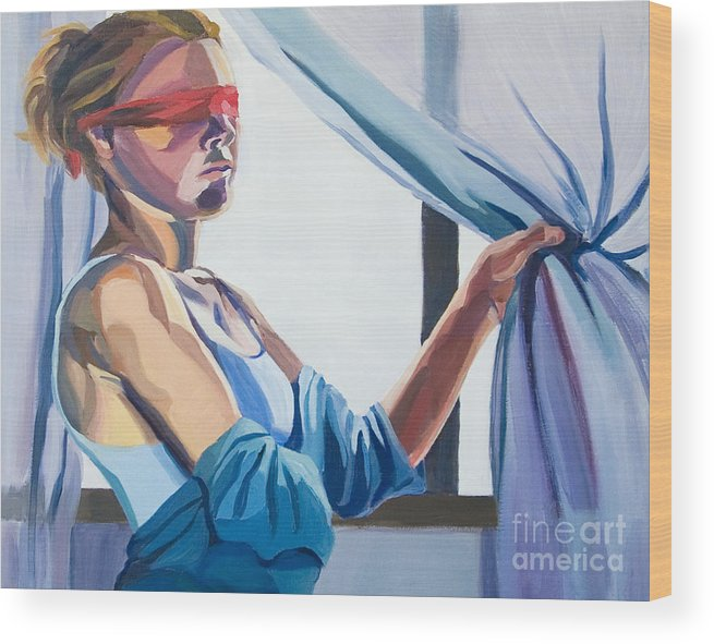 Conceptual Wood Print featuring the painting Blindfold by Angelique Bowman