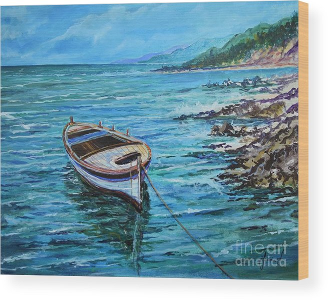 Beach And Waves Wood Print featuring the painting Boat by Sinisa Saratlic