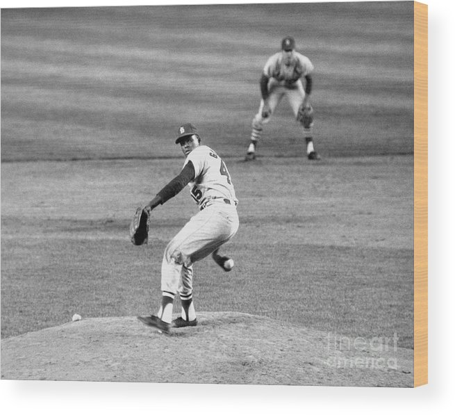 1950-1959 Wood Print featuring the photograph Bob Gibson by National Baseball Hall Of Fame Library