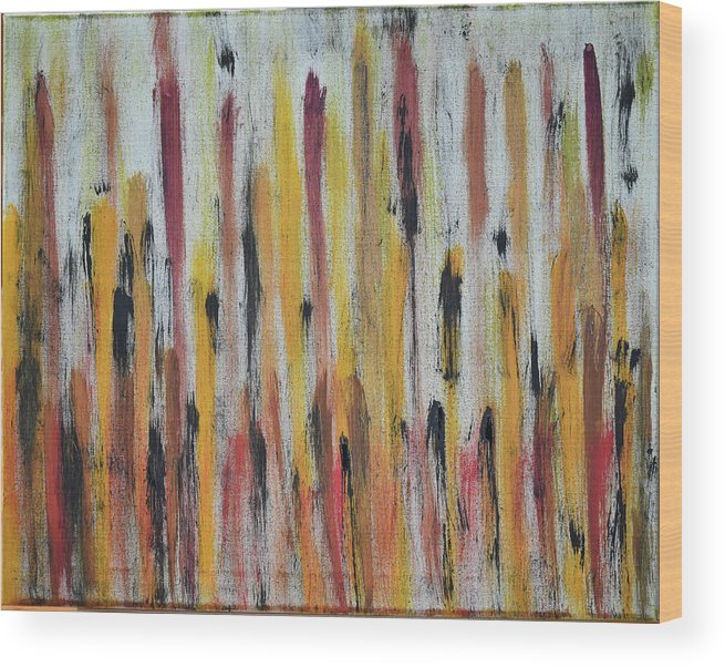 Red Wood Print featuring the painting Cattails at Sunset by Pam Roth O'Mara