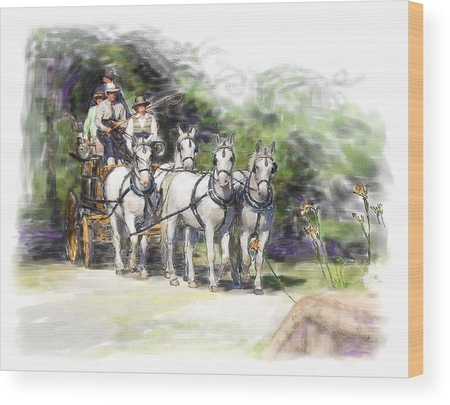 Horse Wood Print featuring the painting Coaching In Acadia- Carriage Driving Four In Hand by Connie Moses