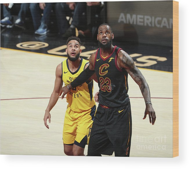Playoffs Wood Print featuring the photograph Cory Joseph and Lebron James by Nathaniel S. Butler