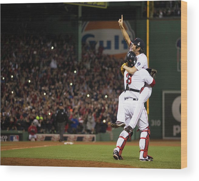 Playoffs Wood Print featuring the photograph David Ross and Koji Uehara by Brad Mangin