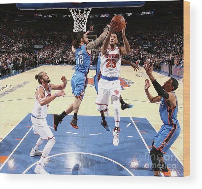 Nba Pro Basketball Wood Print featuring the photograph Derrick Rose and Steven Adams by Nathaniel S. Butler