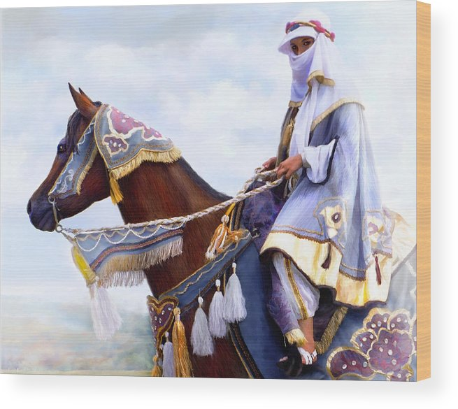 Horse Wood Print featuring the painting Desert Arabian Native Costume Horse And Girl Rider by Connie Moses