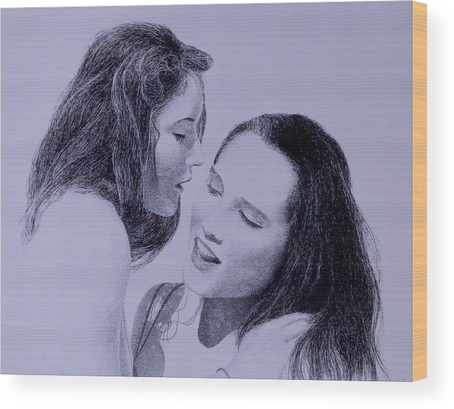 Female Friends Love Couples Seduction Nude Wood Print featuring the painting Dont Tell by Tony Ruggiero