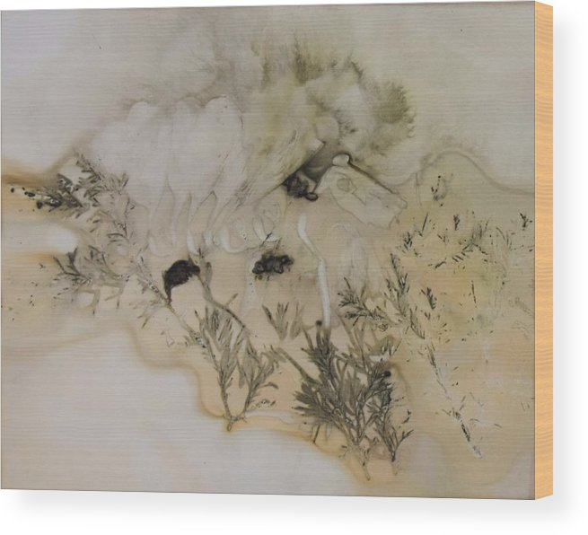 Nature Wood Print featuring the mixed media Eco print 5 by Charla Van Vlack