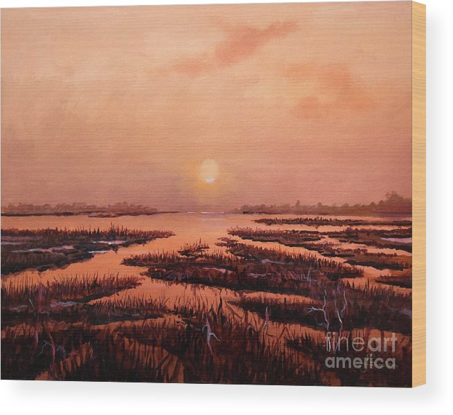Marsh Wood Print featuring the painting Evening Time by Sinisa Saratlic