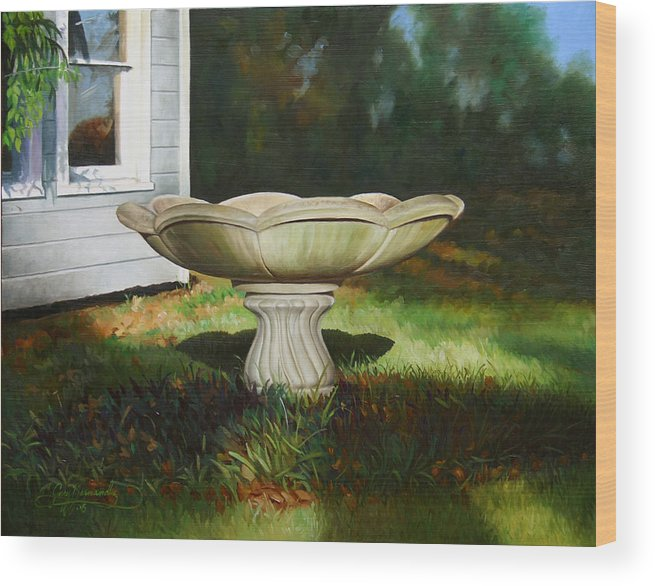 Concrete Fountain Wood Print featuring the painting Fall Afternoon by Gary Hernandez