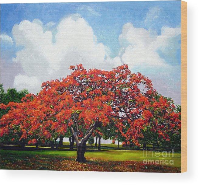 Cuban Art Wood Print featuring the painting Flamboyan by Jose Manuel Abraham