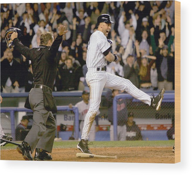 Game Two Wood Print featuring the photograph Hideki Matsui and Derek Jeter by Ezra Shaw