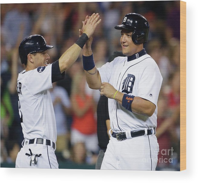 Three Quarter Length Wood Print featuring the photograph Ian Kinsler, Nick Castellanos, and Miguel Cabrera by Duane Burleson