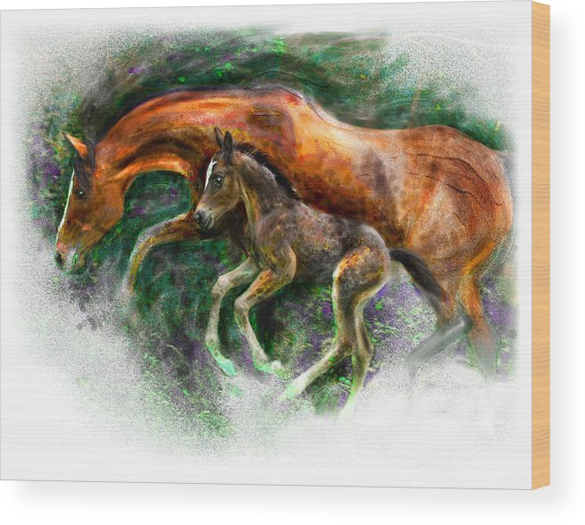 Horse Wood Print featuring the painting In Harmony Three Days Old Arabian Mare Running Foal by Connie Moses