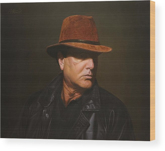Portrait Wood Print featuring the painting Incognito by Gary Hernandez