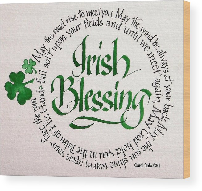 Art Wood Print featuring the painting Irish Blessing Round by Carol Sabo
