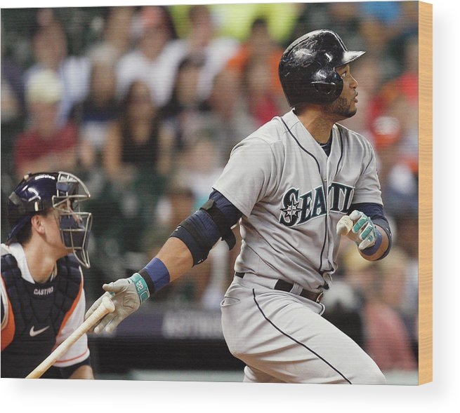 American League Baseball Wood Print featuring the photograph Jason Castro by Bob Levey