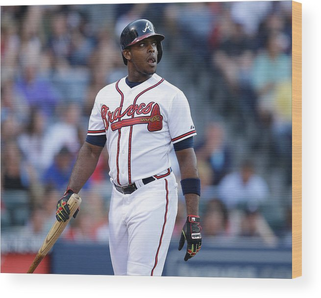 Atlanta Wood Print featuring the photograph Justin Upton by Mike Zarrilli