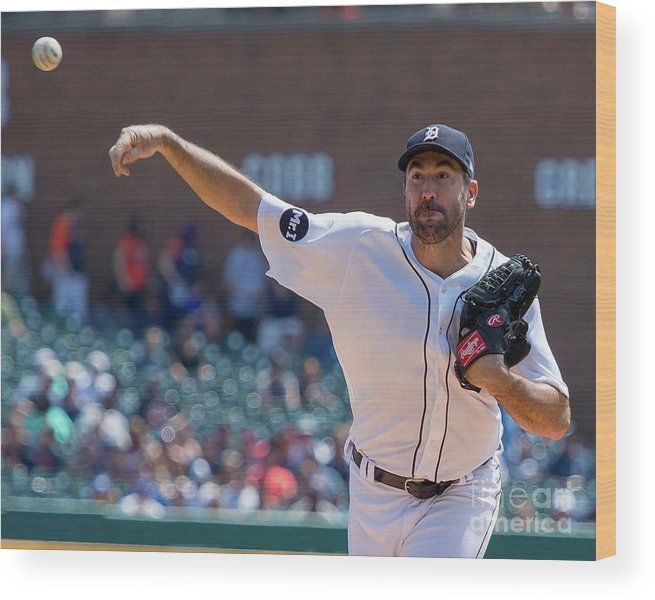 Three Quarter Length Wood Print featuring the photograph Justin Verlander by Dave Reginek