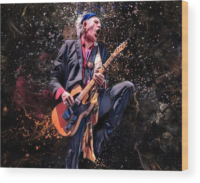 Keith Richards Wood Print featuring the digital art Keith Richards by Scott Wallace Digital Designs
