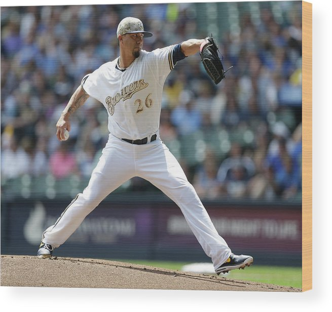 American League Baseball Wood Print featuring the photograph Kyle Lohse by Jeffrey Phelps